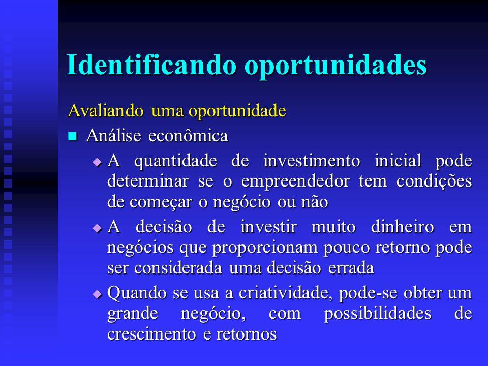 Identificando oportunidades Avaliando uma oportunidade  Análise econômica  A quantidade de investimento inicial pode determinar se o empreendedor te