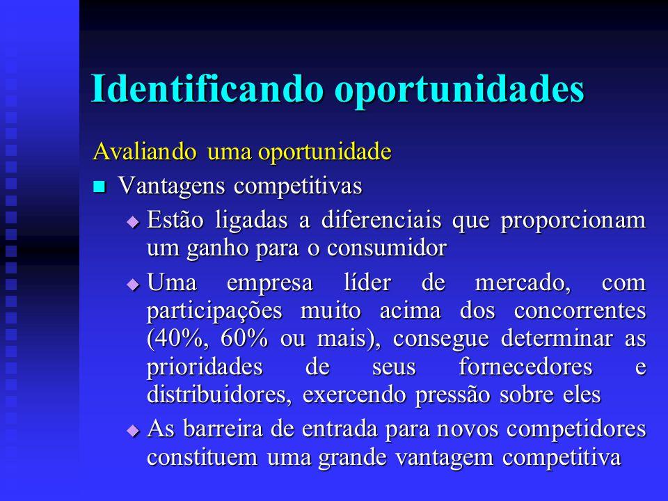 Identificando oportunidades Avaliando uma oportunidade  Vantagens competitivas  Estão ligadas a diferenciais que proporcionam um ganho para o consum