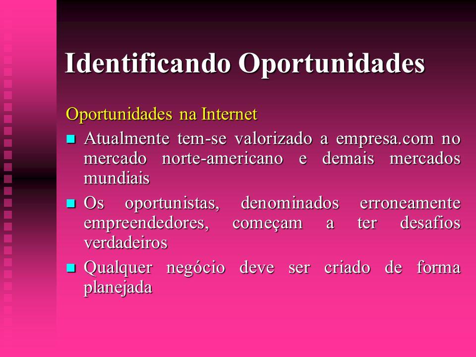 Identificando Oportunidades Oportunidades na Internet  Atualmente tem-se valorizado a empresa.com no mercado norte-americano e demais mercados mundia