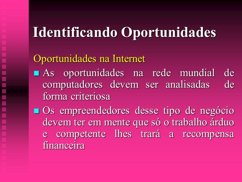 Identificando Oportunidades Oportunidades na Internet  As oportunidades na rede mundial de computadores devem ser analisadas de forma criteriosa  Os