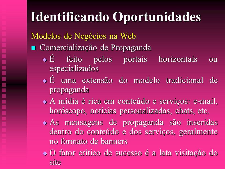 Identificando Oportunidades Modelos de Negócios na Web  Comercialização de Propaganda  É feito pelos portais horizontais ou especializados  É uma e