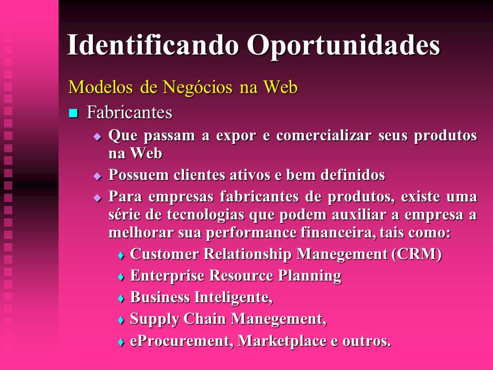 Identificando Oportunidades Modelos de Negócios na Web  Fabricantes  Que passam a expor e comercializar seus produtos na Web  Possuem clientes ativ