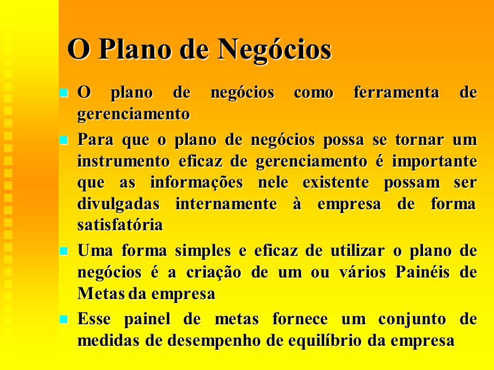 O Plano de Negócios  O plano de negócios como ferramenta de gerenciamento  Para que o plano de negócios possa se tornar um instrumento eficaz de ger