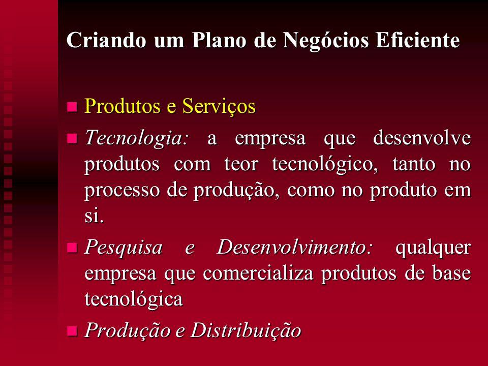 Criando um Plano de Negócios Eficiente  Produtos e Serviços  Tecnologia: a empresa que desenvolve produtos com teor tecnológico, tanto no processo d