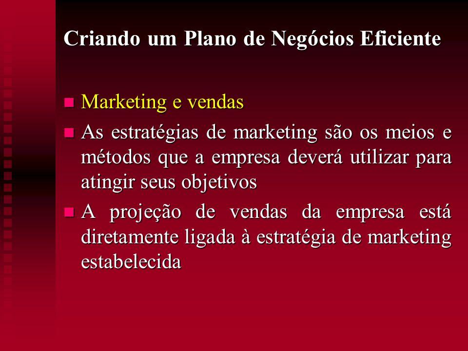 Criando um Plano de Negócios Eficiente  Marketing e vendas  As estratégias de marketing são os meios e métodos que a empresa deverá utilizar para at