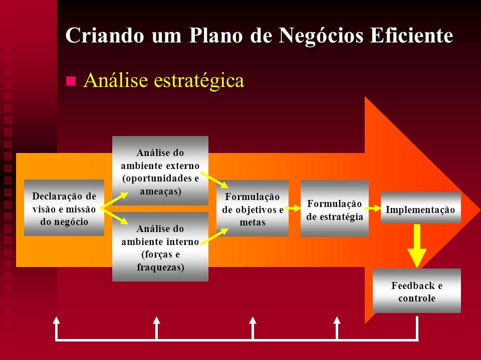 Criando um Plano de Negócios Eficiente  Análise estratégica Declaração de visão e missão do negócio Análise do ambiente externo (oportunidades e amea