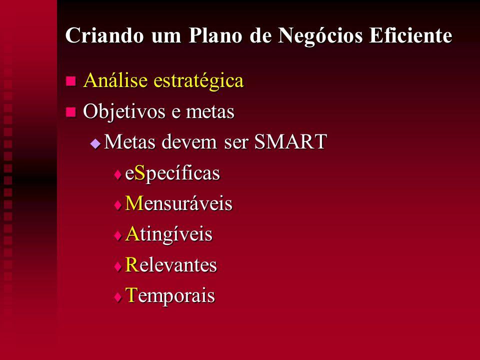 Criando um Plano de Negócios Eficiente  Análise estratégica  Objetivos e metas  Metas devem ser SMART  eSpecíficas  Mensuráveis  Atingíveis  Re