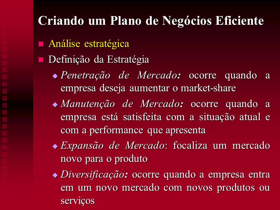 Criando um Plano de Negócios Eficiente  Análise estratégica  Definição da Estratégia  Penetração de Mercado: ocorre quando a empresa deseja aumenta