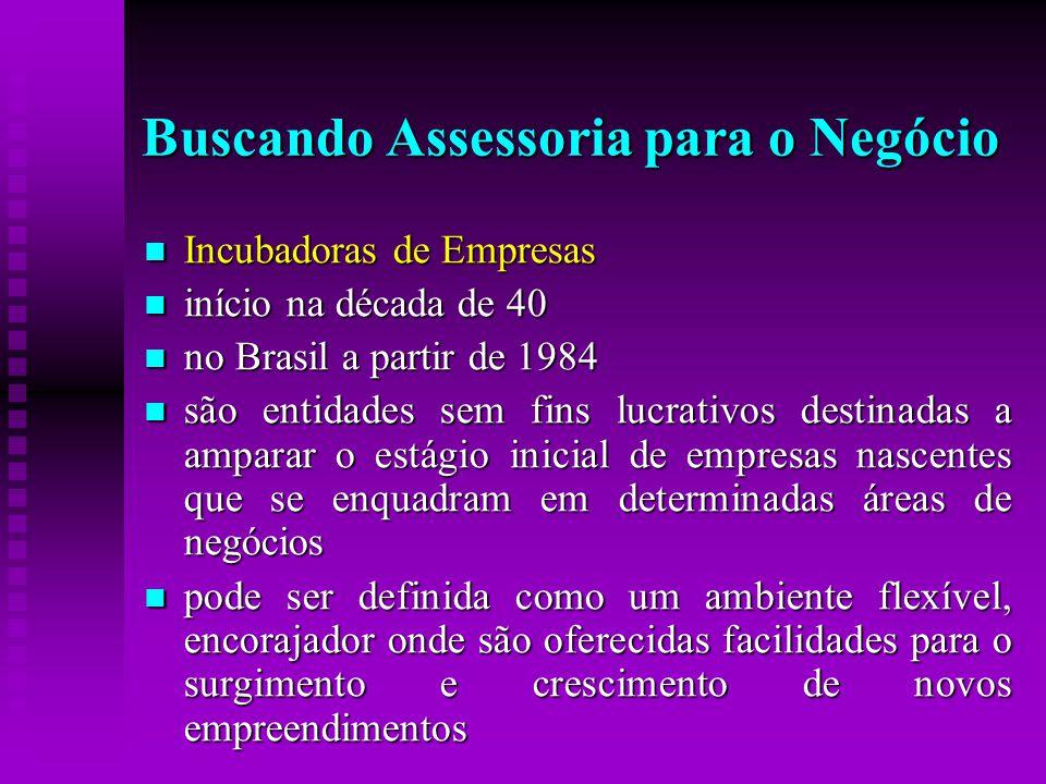  Incubadoras de Empresas  início na década de 40  no Brasil a partir de 1984  são entidades sem fins lucrativos destinadas a amparar o estágio ini