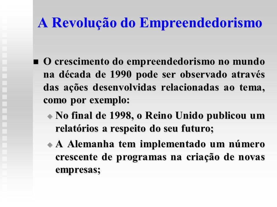 A Revolução do Empreendedorismo  O crescimento do empreendedorismo no mundo na década de 1990 pode ser observado através das ações desenvolvidas rela