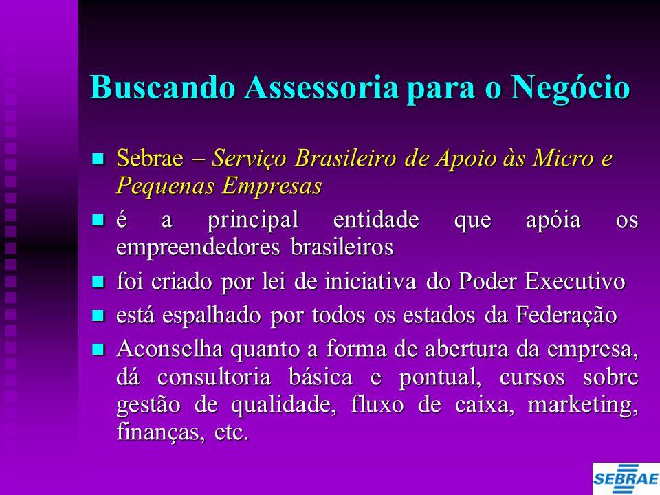 Buscando Assessoria para o Negócio  Sebrae – Serviço Brasileiro de Apoio às Micro e Pequenas Empresas  é a principal entidade que apóia os empreende