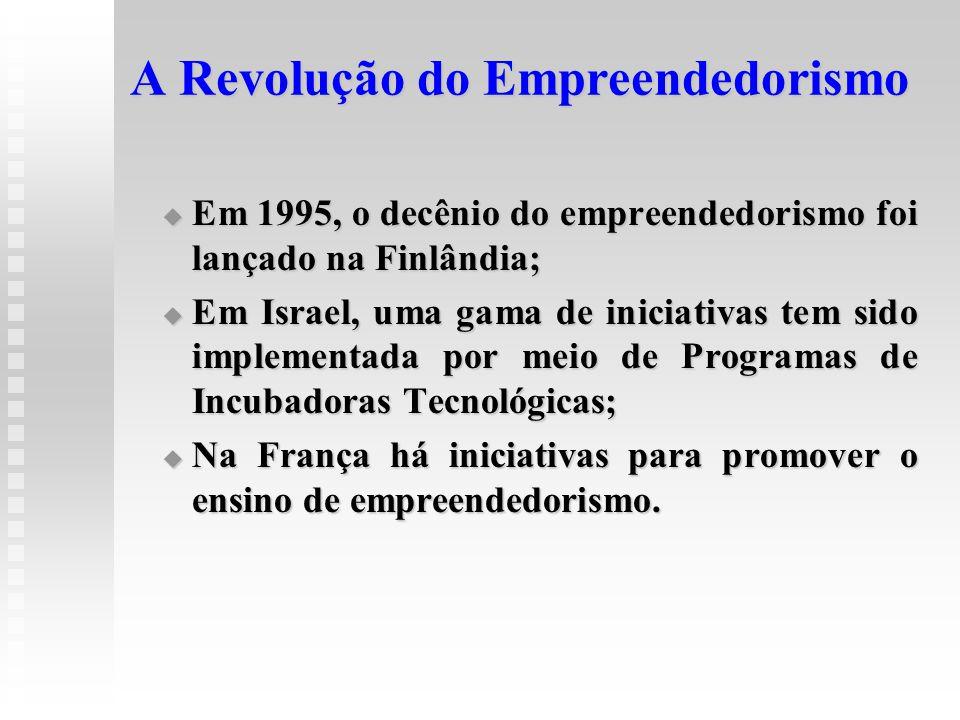A Revolução do Empreendedorismo  Em 1995, o decênio do empreendedorismo foi lançado na Finlândia;  Em Israel, uma gama de iniciativas tem sido imple