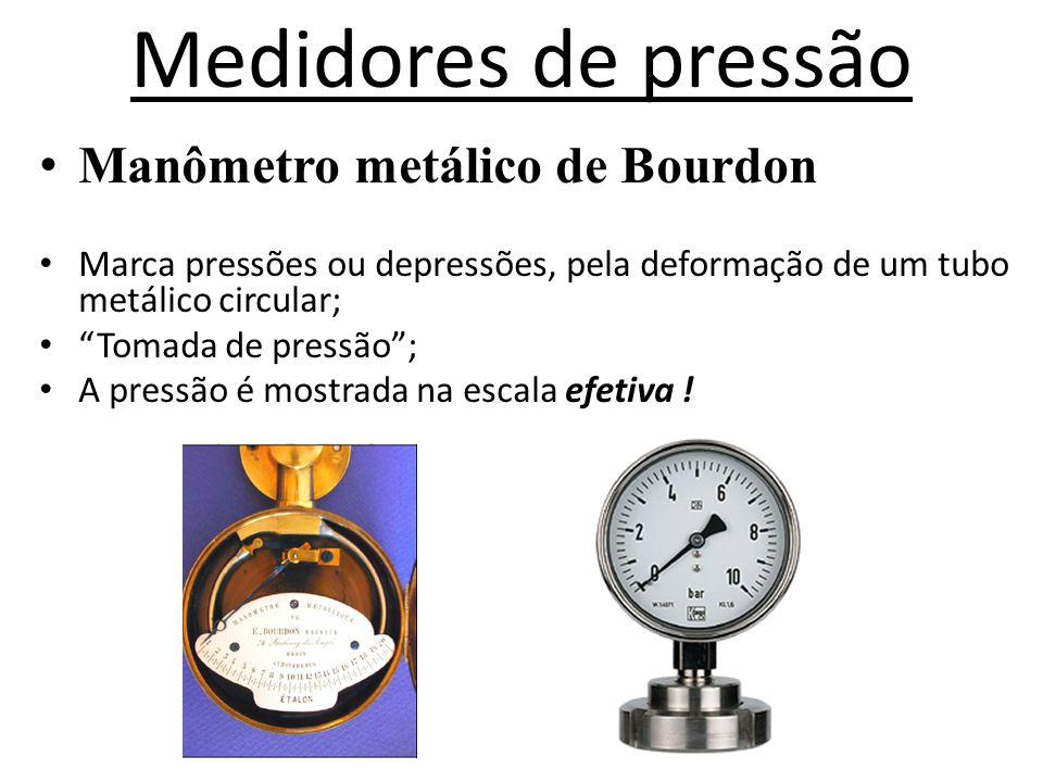 """Medidores de pressão • Manômetro metálico de Bourdon • Marca pressões ou depressões, pela deformação de um tubo metálico circular; • """"Tomada de pressã"""