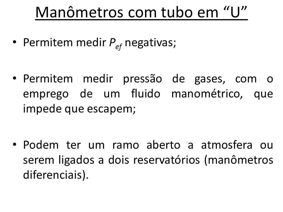 """Manômetros com tubo em """"U"""" • Permitem medir P ef negativas; • Permitem medir pressão de gases, com o emprego de um fluido manométrico, que impede que"""