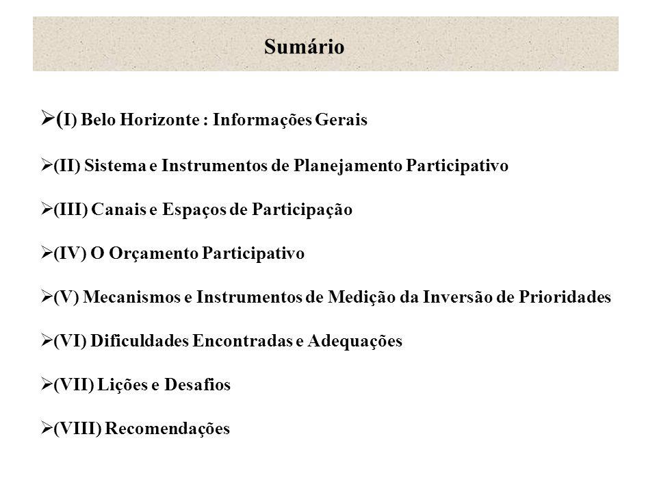  ( I) Belo Horizonte : Informações Gerais  (II) Sistema e Instrumentos de Planejamento Participativo  (III) Canais e Espaços de Participação  (IV)