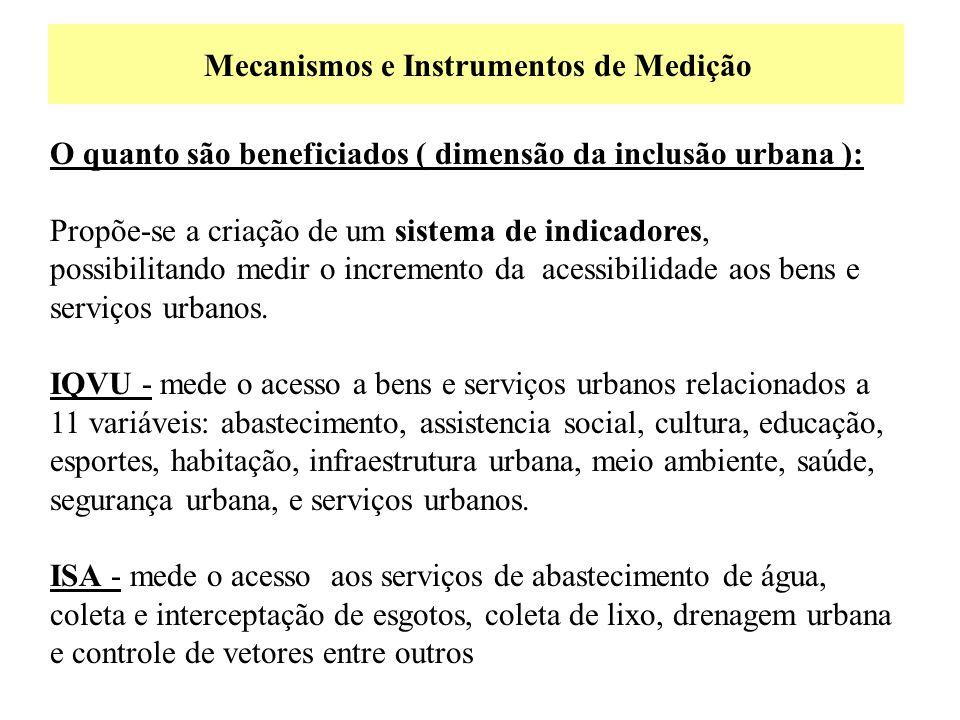 Mecanismos e Instrumentos de Medição O quanto são beneficiados ( dimensão da inclusão urbana ): Propõe-se a criação de um sistema de indicadores, poss
