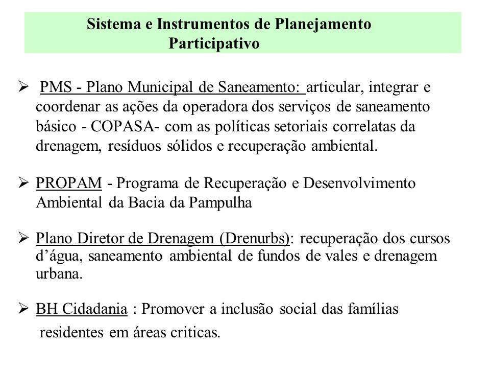  PMS - Plano Municipal de Saneamento: articular, integrar e coordenar as ações da operadora dos serviços de saneamento básico - COPASA- com as políti