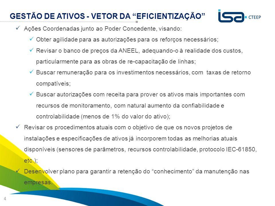"""4 GESTÃO DE ATIVOS - VETOR DA """"EFICIENTIZAÇÃO""""  Ações Coordenadas junto ao Poder Concedente, visando:  Obter agilidade para as autorizações para os"""