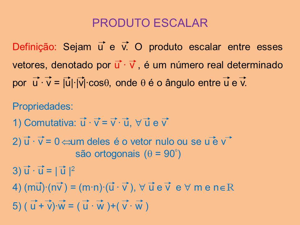 2) u · v = 0 PRODUTO ESCALAR Definição: Sejam u e v. O produto escalar entre esses vetores, denotado por u · v, é um número real determinado por u · v