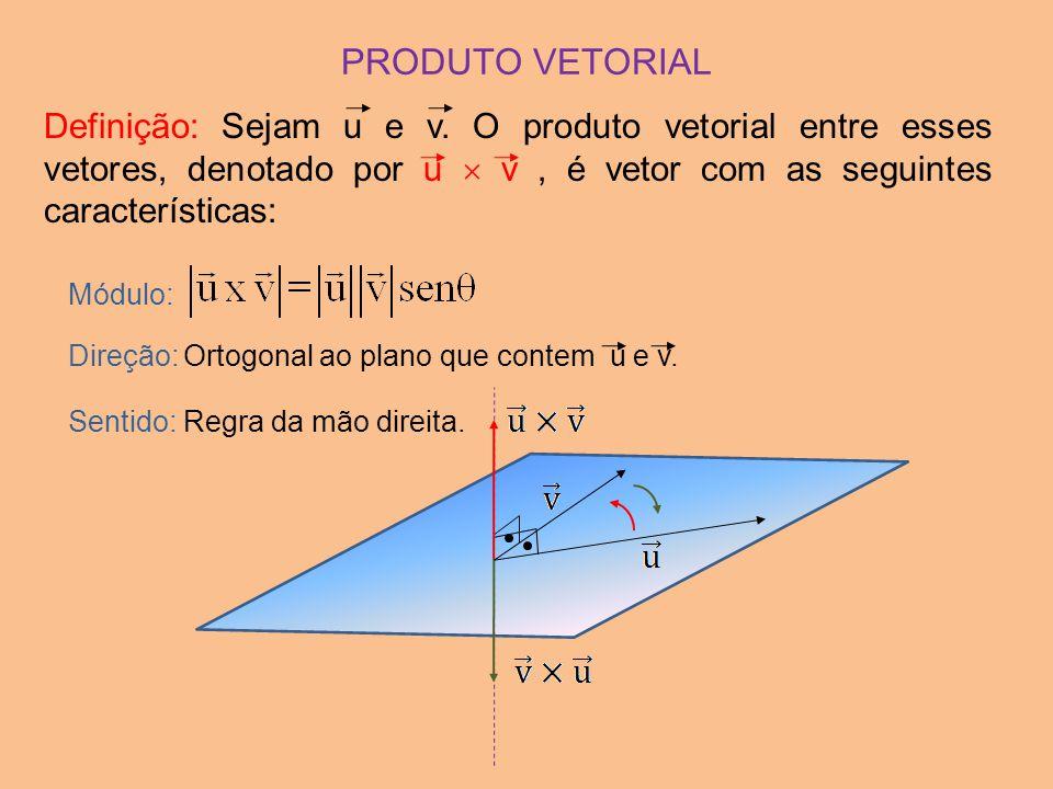 PRODUTO VETORIAL Definição: Sejam u e v. O produto vetorial entre esses vetores, denotado por u  v, é vetor com as seguintes características: Módulo: