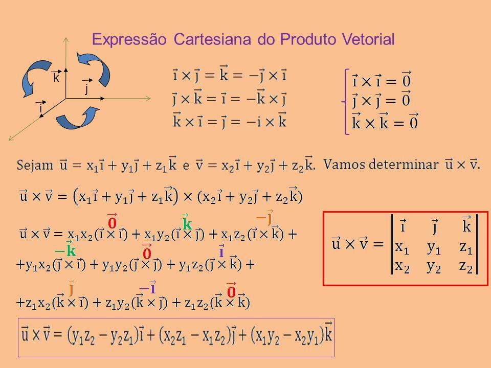 Expressão Cartesiana do Produto Vetorial i k j