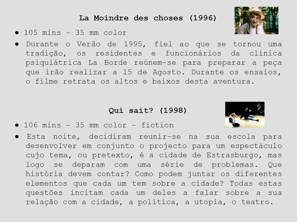 Qui sait? (1998) ● 106 mins - 35 mm color - fiction ● Esta noite, decidiram reunir-se na sua escola para desenvolver em conjunto o projecto para um es