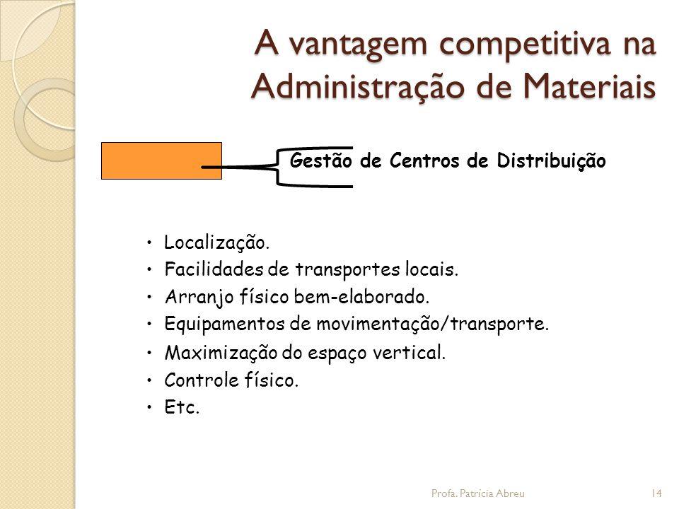 Gestão de Centros de Distribuição • Localização. • Facilidades de transportes locais.