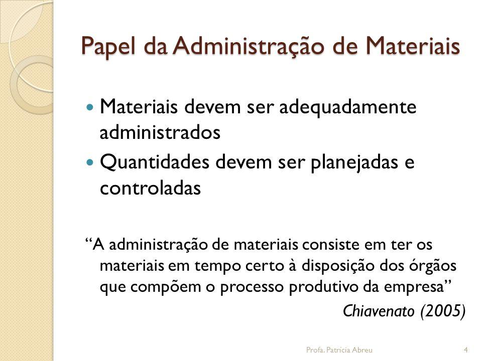 Papel da Administração de Materiais  Materiais devem ser adequadamente administrados  Quantidades devem ser planejadas e controladas A administração de materiais consiste em ter os materiais em tempo certo à disposição dos órgãos que compõem o processo produtivo da empresa Chiavenato (2005) 4Profa.