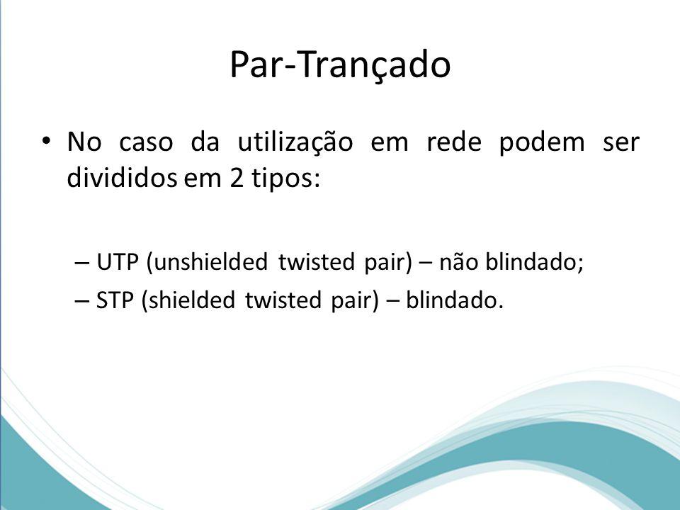 Par-Trançado • No caso da utilização em rede podem ser divididos em 2 tipos: – UTP (unshielded twisted pair) – não blindado; – STP (shielded twisted p