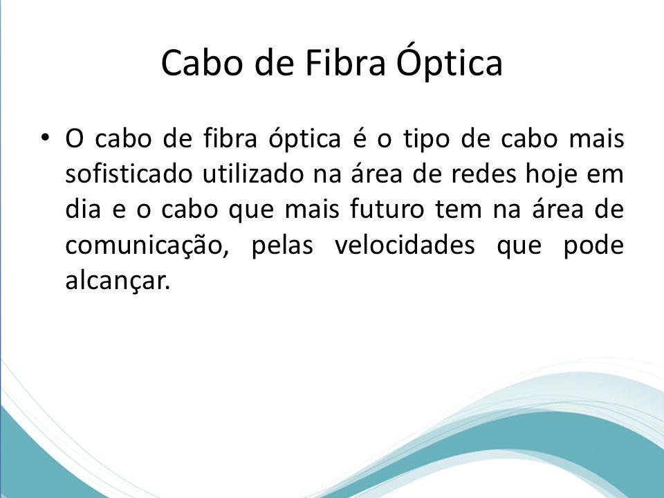 Cabo de Fibra Óptica • O cabo de fibra óptica é o tipo de cabo mais sofisticado utilizado na área de redes hoje em dia e o cabo que mais futuro tem na