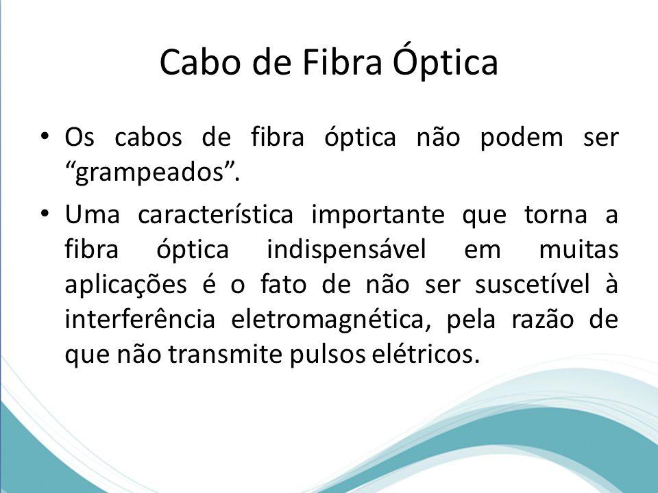 """Cabo de Fibra Óptica • Os cabos de fibra óptica não podem ser """"grampeados"""". • Uma característica importante que torna a fibra óptica indispensável em"""