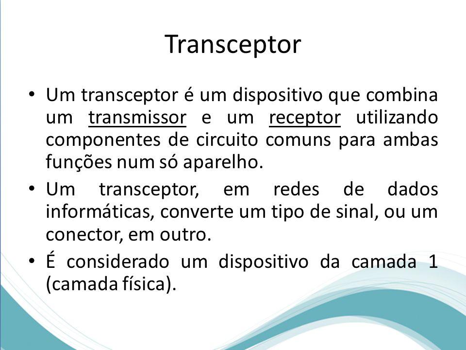 Transceptor • Um transceptor é um dispositivo que combina um transmissor e um receptor utilizando componentes de circuito comuns para ambas funções nu