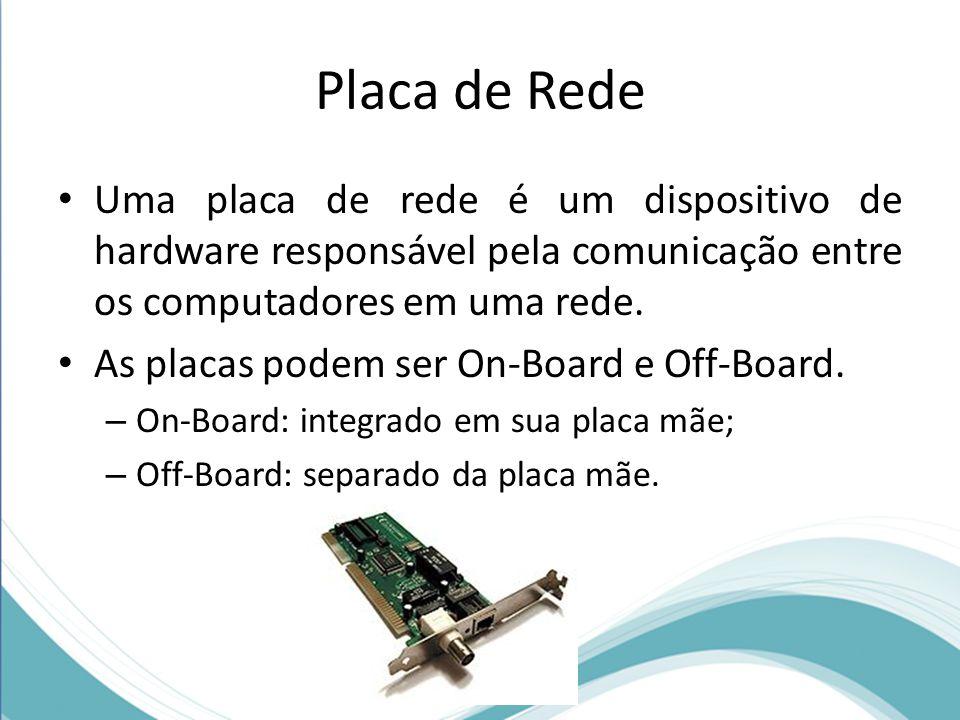 Placa de Rede • Uma placa de rede é um dispositivo de hardware responsável pela comunicação entre os computadores em uma rede. • As placas podem ser O