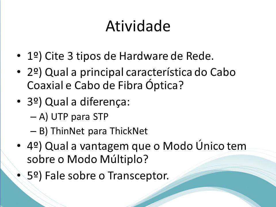 Atividade • 1º) Cite 3 tipos de Hardware de Rede. • 2º) Qual a principal característica do Cabo Coaxial e Cabo de Fibra Óptica? • 3º) Qual a diferença