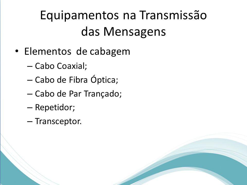 • Elementos de cabagem – Cabo Coaxial; – Cabo de Fibra Óptica; – Cabo de Par Trançado; – Repetidor; – Transceptor.