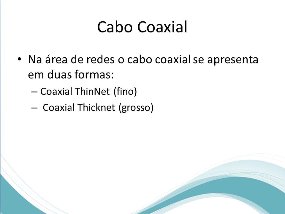 Cabo Coaxial • Na área de redes o cabo coaxial se apresenta em duas formas: – Coaxial ThinNet (fino) – Coaxial Thicknet (grosso)