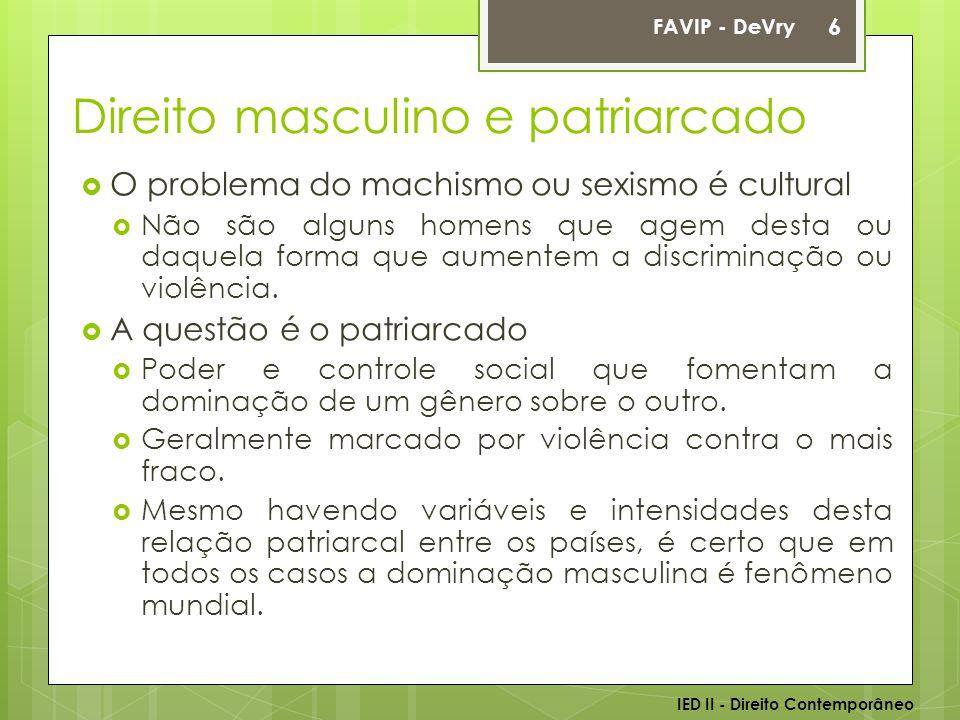 Direito masculino e patriarcado  O problema do machismo ou sexismo é cultural  Não são alguns homens que agem desta ou daquela forma que aumentem a