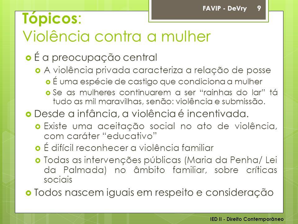 Tópicos : Violência contra a mulher  É a preocupação central  A violência privada caracteriza a relação de posse  É uma espécie de castigo que cond