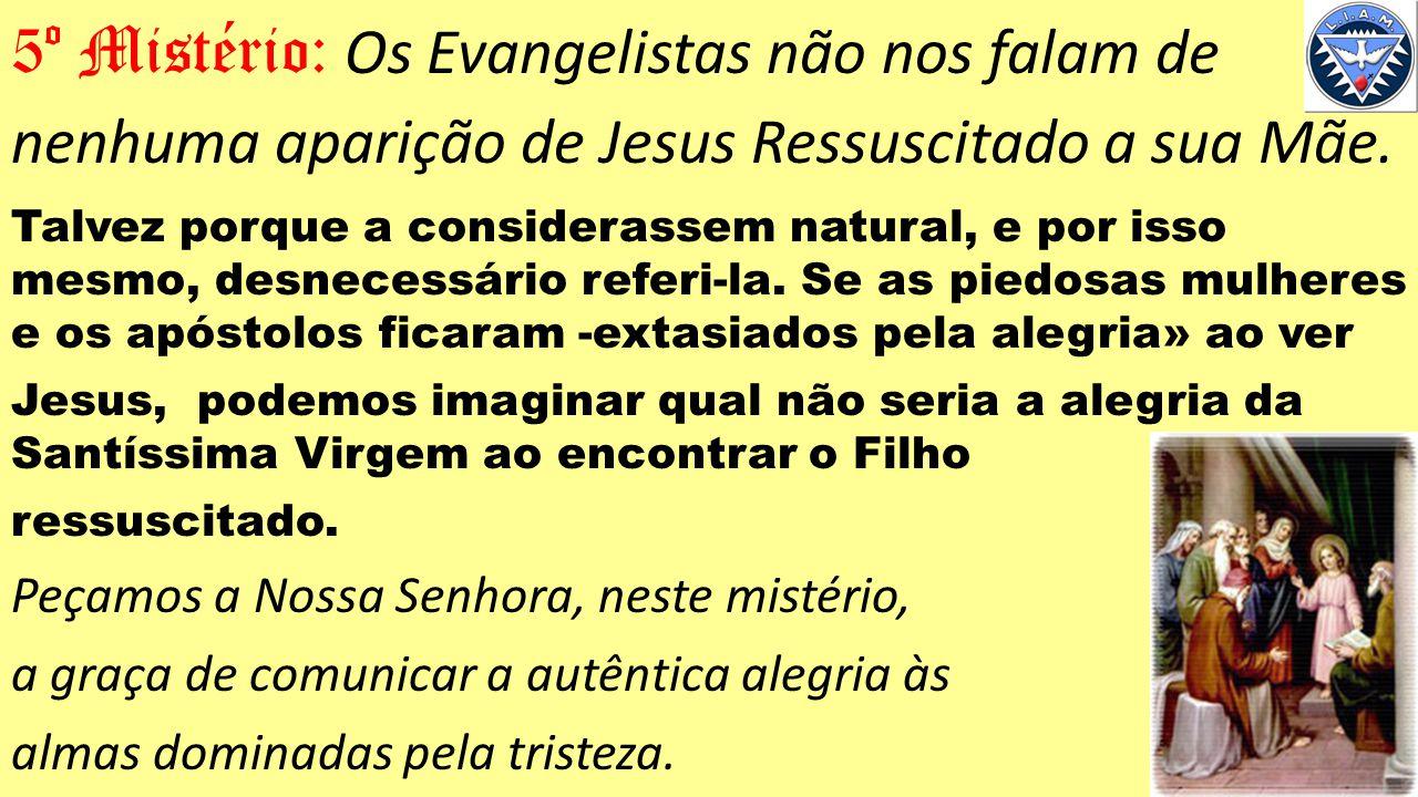 5º Mistério: Os Evangelistas não nos falam de nenhuma aparição de Jesus Ressuscitado a sua Mãe.