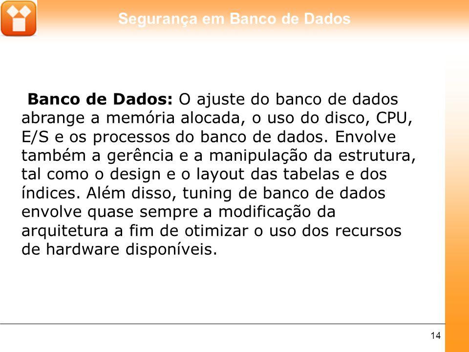 Segurança em Banco de Dados 14 Banco de Dados: O ajuste do banco de dados abrange a memória alocada, o uso do disco, CPU, E/S e os processos do banco