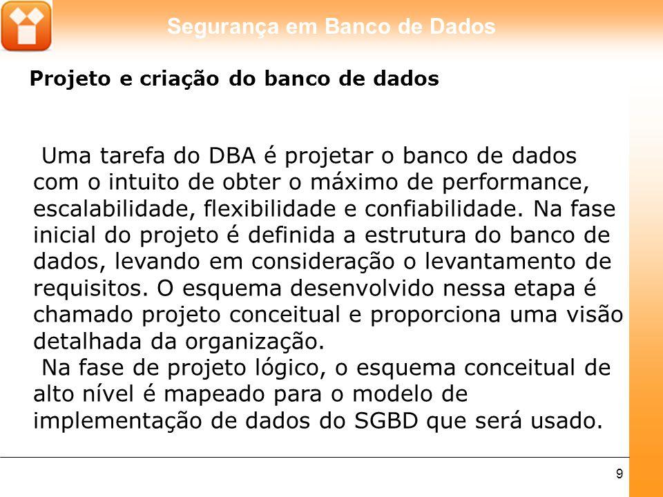 Segurança em Banco de Dados 9 Projeto e criação do banco de dados Uma tarefa do DBA é projetar o banco de dados com o intuito de obter o máximo de per