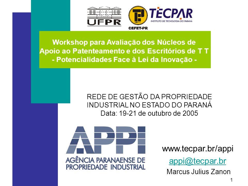 1 REDE DE GESTÃO DA PROPRIEDADE INDUSTRIAL NO ESTADO DO PARANÁ Data: 19-21 de outubro de 2005 www.tecpar.br/appi appi@tecpar.br appi@tecpar.br Marcus Julius Zanon Workshop para Avaliação dos Núcleos de Apoio ao Patenteamento e dos Escritórios de T T - Potencialidades Face à Lei da Inovação -