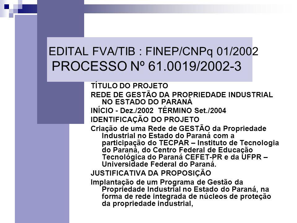 EDITAL FVA/TIB : FINEP/CNPq 01/2002 PROCESSO Nº 61.0019/2002-3 TÍTULO DO PROJETO REDE DE GESTÃO DA PROPRIEDADE INDUSTRIAL NO ESTADO DO PARANÁ INÍCIO - Dez./2002 TÉRMINO Set./2004 IDENTIFICAÇÃO DO PROJETO Criação de uma Rede de GESTÃO da Propriedade Industrial no Estado do Paraná com a participação do TECPAR – Instituto de Tecnologia do Paraná, do Centro Federal de Educação Tecnológica do Paraná CEFET-PR e da UFPR – Universidade Federal do Paraná.
