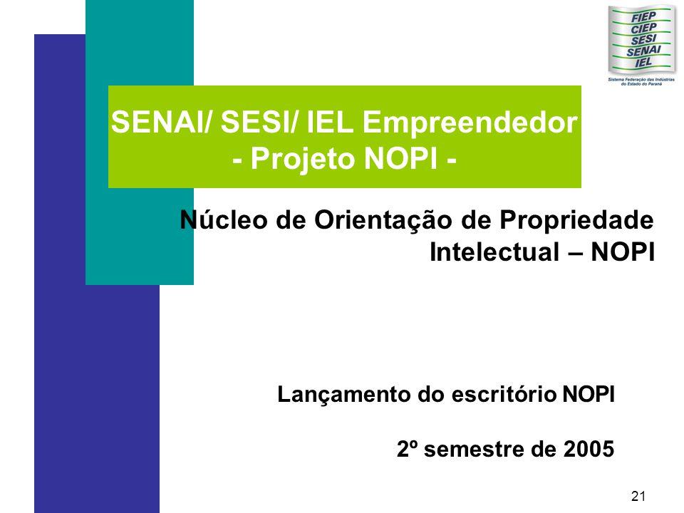 21 SENAI/ SESI/ IEL Empreendedor - Projeto NOPI - Núcleo de Orientação de Propriedade Intelectual – NOPI Lançamento do escritório NOPI 2º semestre de 2005