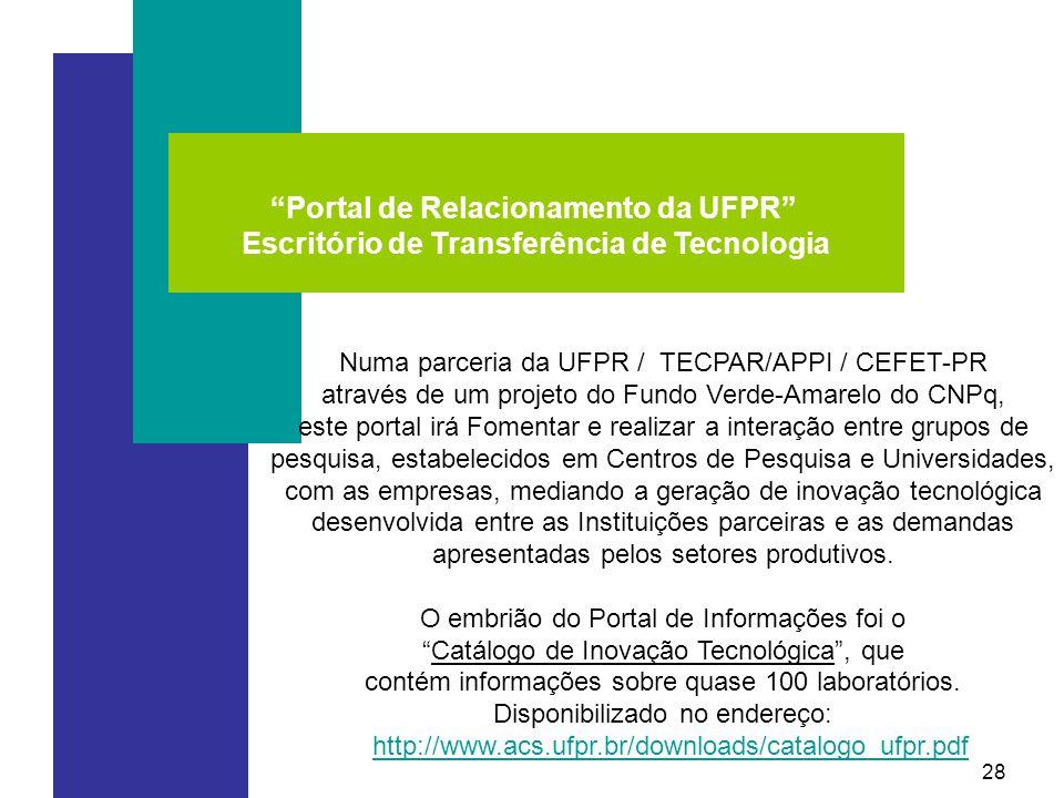 28 Portal de Relacionamento da UFPR Escritório de Transferência de Tecnologia Numa parceria da UFPR / TECPAR/APPI / CEFET-PR através de um projeto do Fundo Verde-Amarelo do CNPq, este portal irá Fomentar e realizar a interação entre grupos de pesquisa, estabelecidos em Centros de Pesquisa e Universidades, com as empresas, mediando a geração de inovação tecnológica desenvolvida entre as Instituições parceiras e as demandas apresentadas pelos setores produtivos.