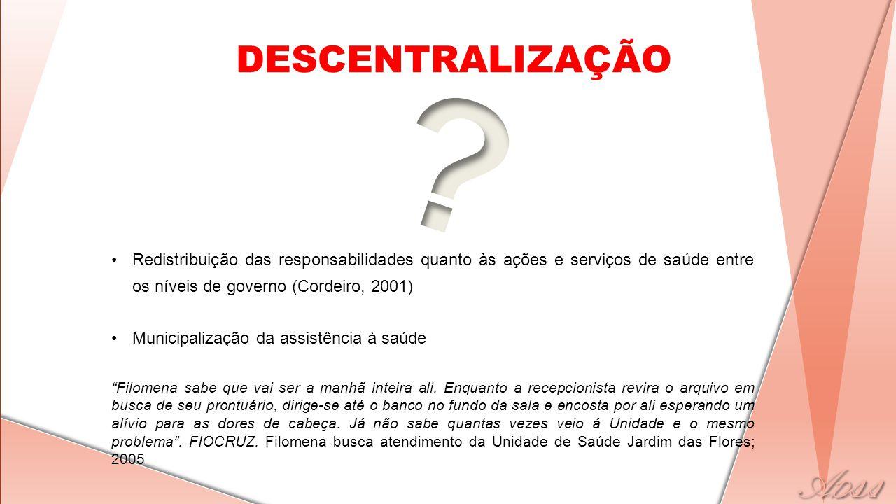 DESCENTRALIZAÇÃO •Redistribuição das responsabilidades quanto às ações e serviços de saúde entre os níveis de governo (Cordeiro, 2001) •Municipalizaçã