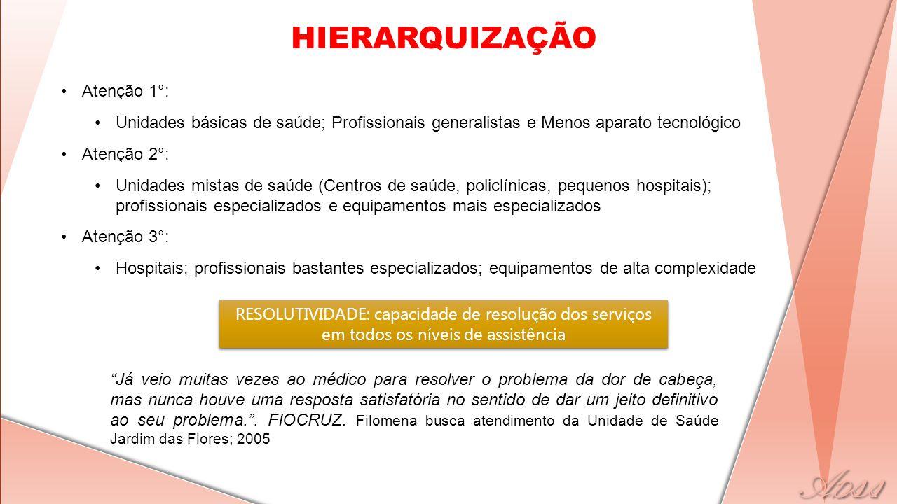 HIERARQUIZAÇÃO •Atenção 1°: •Unidades básicas de saúde; Profissionais generalistas e Menos aparato tecnológico •Atenção 2°: •Unidades mistas de saúde