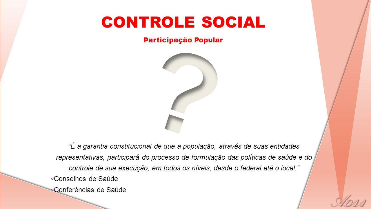 """CONTROLE SOCIAL Participação Popular """"É a garantia constitucional de que a população, através de suas entidades representativas, participará do proces"""
