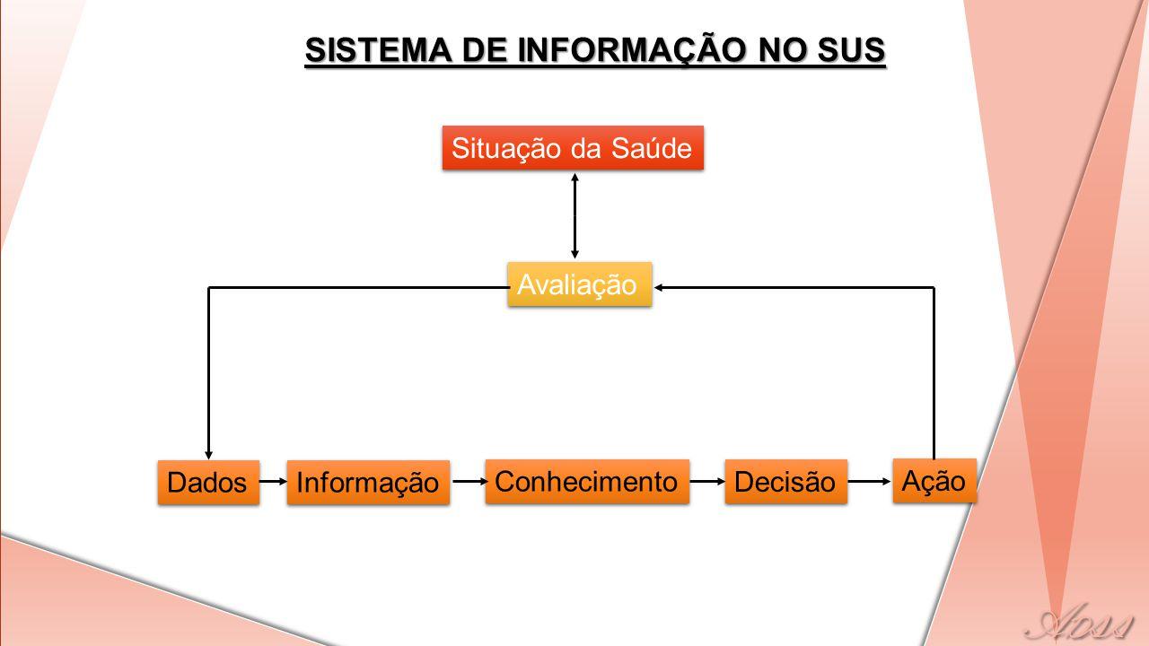 Situação da Saúde Avaliação Dados Informação Conhecimento Decisão Ação SISTEMA DE INFORMAÇÃO NO SUS
