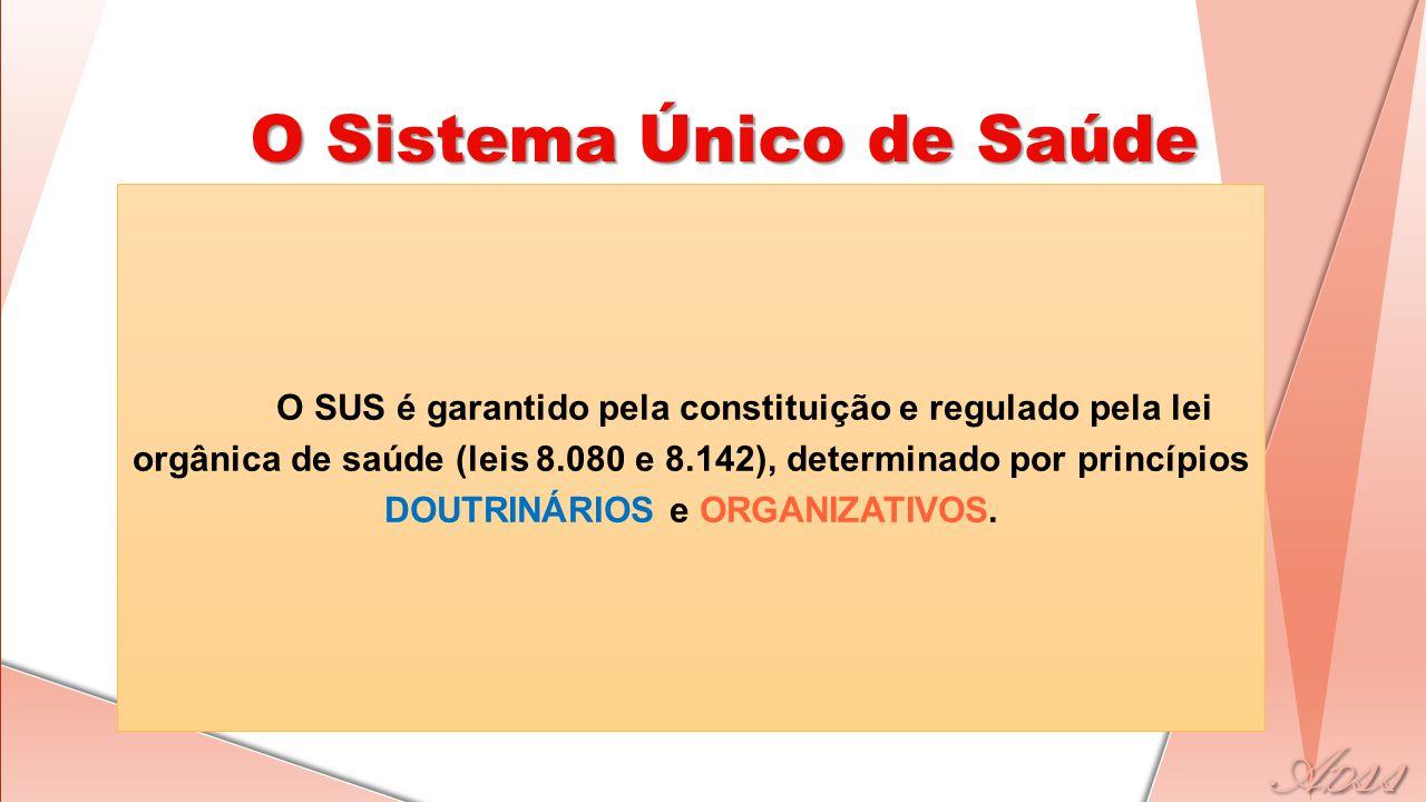 O SUS é garantido pela constituição e regulado pela lei orgânica de saúde (leis 8.080 e 8.142), determinado por princípios DOUTRINÁRIOS e ORGANIZATIVO